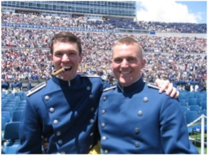 Graduation day with classmate Joseph Helton (right), killed in action in Iraq in 2009