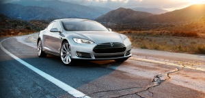 Tesla Model S on the road